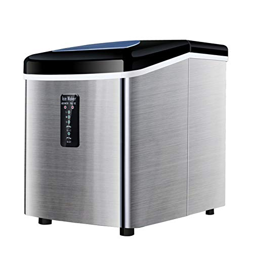 Wgwioo Eismaschine Maschine, Arbeitsplatte Edelstahl Portable Eiswürfel Maschine, Produziert 40 Kg Eis Pro 24 Stunden