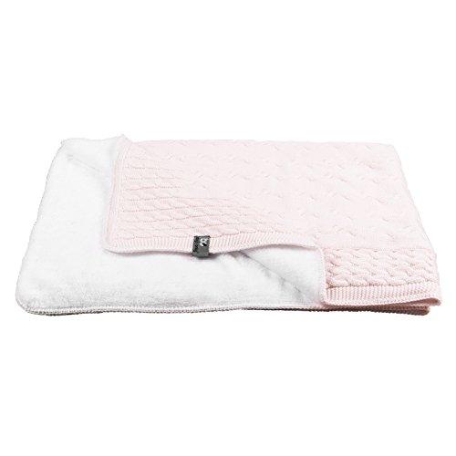 Baby\'s Only 811001 Baby Decke Zopf mit Teddyfutter klassisch rosa 75x90 cm