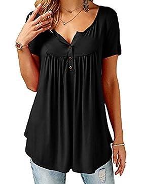 b837a64641 Yuxin Moda Verano Camiseta Para Mujer Color Sólido Blusa Larga Elegante  Manga Corta Túnica con Botones