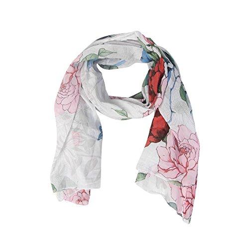 Sommer Schal Blumen mit Seide Damentuch Tücher Halstuch weich Sommer Frühjahr