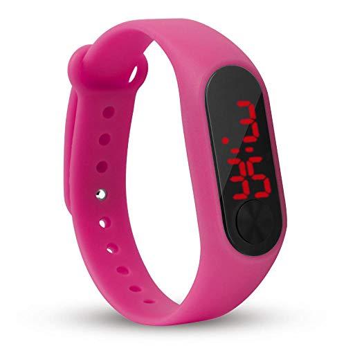 wojiaxiaopu Kinderuhren Neue LED Digital Armbanduhr Armband Kinder Outdoor Sportuhr Für Jungen Mädchen Elektronische Datumsuhr-Rose rot