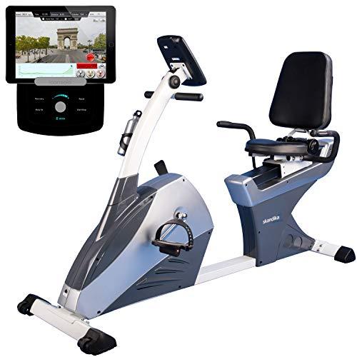 skandika Centaurus Liege-Ergometer, 9 kg Schwungmasse, 12 vorinstallierte Trainingsprogramme & Bluetooth Smartphone/Tablet App-Steuerung mit Google Street View (LCD Computer mit Bluetooth + iConsole)