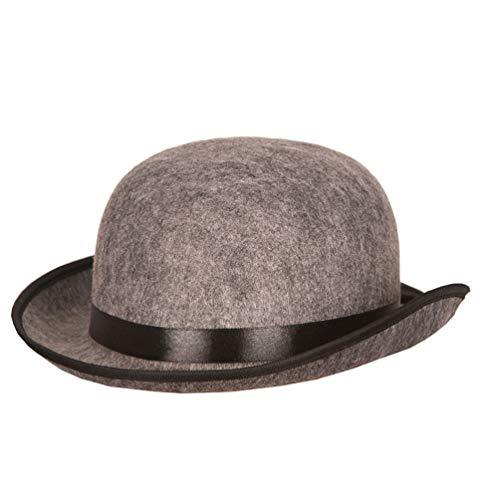 Karneval-Klamotten Melone grau Hut Herren Damen Bowler-Hut mit Band schwarz