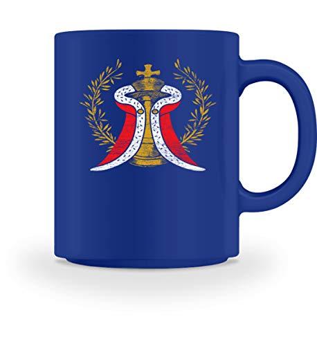 Shirtee Schachfigur König mit Umhang - Geschenk für Schachspieler - Schach - Tasse -M-Royal Blau (Royal-baby-tasse)