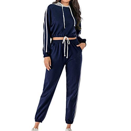 Sllowwa Damen Jogging Anzug Trainingsanzug Sweatshirt Sportanzug 2 Stücke Langarm Mit Kapuze Striped Print Kurze Sweatshirt Hosen Hosen Sets