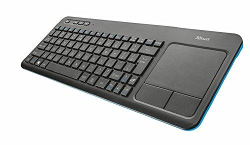 Trust Veza Tastiera Multimediale Wireless con Touchpad Integrato, Non Illuminata, a Pile, Nero