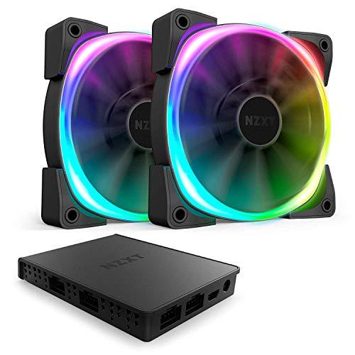 Nzxt AER RGB 2-140mm - Personalización Avanzada de la iluminación - Aspas en Forma de Aleta -Ventilador RGB LED PWM Compatible con HUE 2 - Pack de Dos Ventiladores + Controlador de iluminación HUE 2