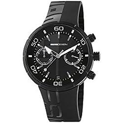 Momo Jet Black MD2398BK-11 - Reloj de hombre con correa de caucho negro y caja de acero en PVD negro.