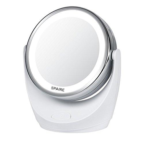 Spaire Specchio per Trucco 10X / 1X Doppia Faccia con Luce LED Specchio Illuminato d'Ingrandimento con 360 Gradi Rotazione per Cosmetici e Cura della Pelle