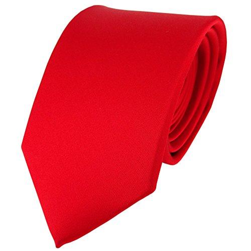 TigerTie Satin Seidenkrawatte in verkehrsrot einfarbig Uni - Krawatte 100% Seide