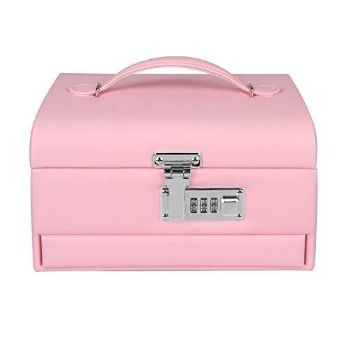 TSSS 3-Code Zahlenschloss Schmuckkasten mit Spiegel Damen Mädchen Abschließbar Schmuckkoffer Pink Kunstleder Schmuckkästchen Schmucklade Boxen