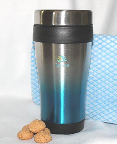 Trinkbecher / Kaffee to go Becher aus hochwertigem mattiertem Edelstahl, doppelwandig, mit Wischtuch