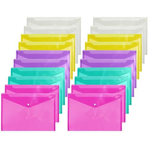 Elcoho - Carpeta de documentos (A4, 20 unidades, plástico, con botón, para escuela y oficina, 5 colores) A5 sizes