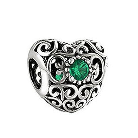 En forme Pandora Bracelets Cœur Charms émeraude vert Cubique Sterling argent pour Femmes