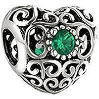 pietra a forma di cuore, per braccialetti Pandora con argento