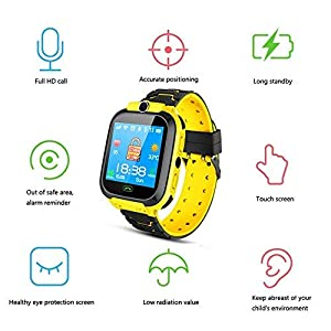 Tenlso Smartwatch Niños, Reloj Inteligente para Niños Impermeable con GPS Localizador, Hacer Llamadas, Chat de Voz, SOS, Cámara, Tarjeta 2G, Compatible con iOS y Android, para Niños de 3 a 12 Años