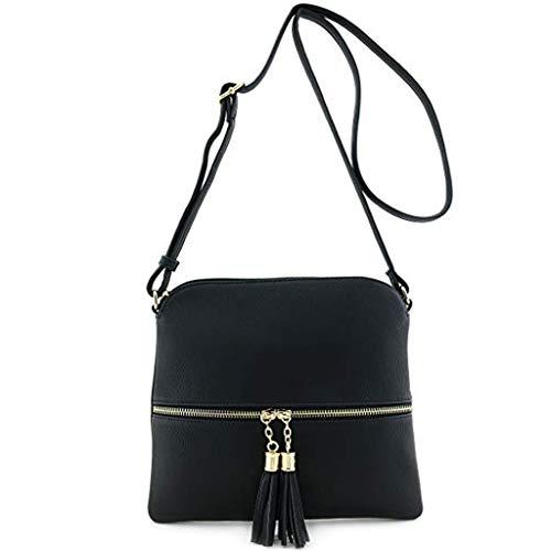 Frauen Handtasche Leder Quaste Umhängetasche Pure Color Schultertasche Kuriertasche Schwarz
