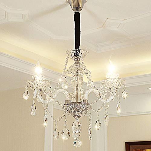 52x52x42 cm Europäischen Retro Kreative Kerze Led Kronleuchter Wohnzimmer Schlafzimmer Restaurant Hotel 3 Lichtquelle Kristallglas Silber Deckenleuchte Hängende Beleuchtung -