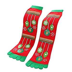 Superior_Lifes Damen warme Winter-gestreifte Hauszehensocken Weihnachtsfingersocken