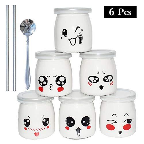 Yangbaga Joghurtgläser 6 Gläser mit Deckel, Gläser für Vorspeisen und Desserts, mit Löffel, edelstahlem Strohhalm und Reinigungsbürste, ideal zum Anrichten und Präsentieren von Speisen, 200ml