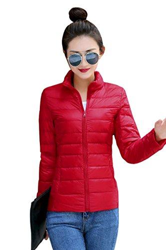 YMING Damen leichte und parkbare Daunen Jacke Skijacke Steppjacke Rot L