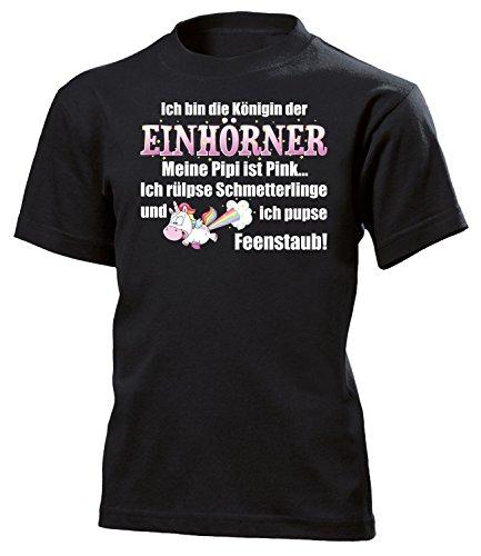 Ich bin die Königin der Einhörner 5936 Kinder T-Shirt (K-SW) Gr.164 (Schwarze Kind Kondom Kostüm)