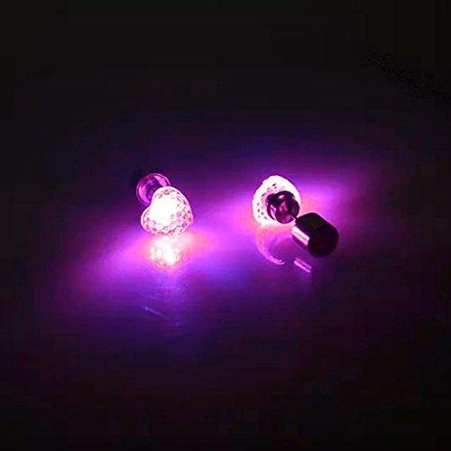 QHGstore 1Pair leuchtende LED Light Up Ohrringe Bling glänzende Herz-Bolzen-Ohrringe Rosa