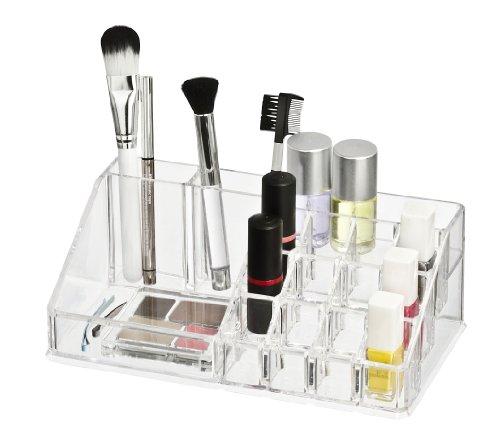 wenko-20986100-kosmetik-organizer-femme-mit-16-aufteilungen-kunststoff-acryl-225-x-8-x-125-cm-transp