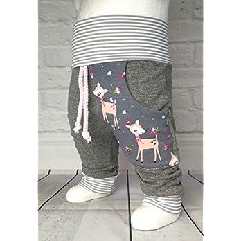 Baby Pumphose mit Tasche Gr. 50-104 Rehkitz Grau Rose´ handmade Puschel-Design
