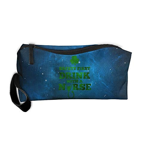 Safety First Drink With A Nurse St Datrick's Day Travel Toiletry Bag Makeup Pouch Bag Handbag Organizer - First Bag Safety