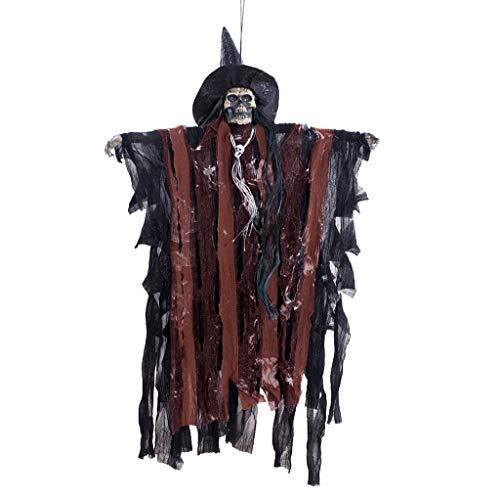 bloatboy Halloween  Horror Sound Control Hexe Anhänger Skeleton Geist Anhänger Spielzeug, Horror Halloween Dekorationen Stützen Atmosphere Scene Decoration (Kaffee)
