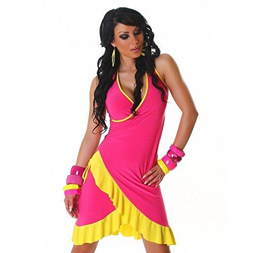 Robe femmes courte d'été Sexy avec volants Rose Taille unique 8, 10, 12, 14–Taille unique-EU 36, 38, 40, 42 - Dark pink - yellow