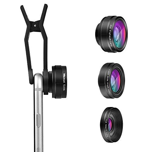 Galleria fotografica Telefono lente kit 3in 1, 230° Supreme fisheye + 0.65x Grandangolo + 15x obiettivo macro con panno di pulizia e borsa da trasporto per 6,6s, 6Plus, Samsung, Android, Windows