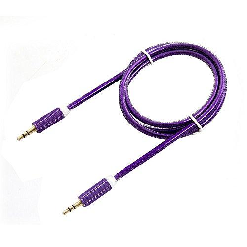 Cavo audio alluminio intrecciato, FG 1m cavo audio stereo Premium 24K Placcato Oro Cavo Connettore per cuffie, iPhone, iPod, iPad, Auto o stereo Purple