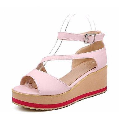 LvYuan Femme Sandales Confort Polyuréthane Printemps Décontracté Confort Noir Bleu Rose Plat blushing pink