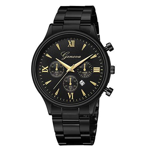 Neu Armbanduhr HGHYH Männer Luxusuhr Mode Edelstahl Uhr Datum Quarz Analog Armbanduhr(Schwarz)