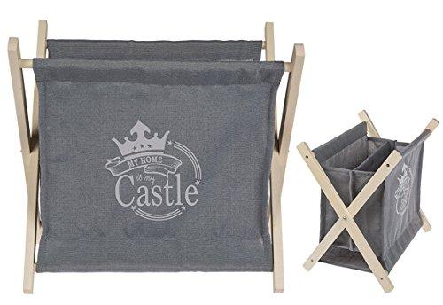 Bada Bing Zeitungsständer Zeitschriften Aufbewahrung My Home Is My Castle Holz Grau Deko 53