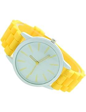 SODIAL(R)Damenuhr Klassisch Gel Silikon Gelee Uhr (Gelb + Weisses Gesicht)