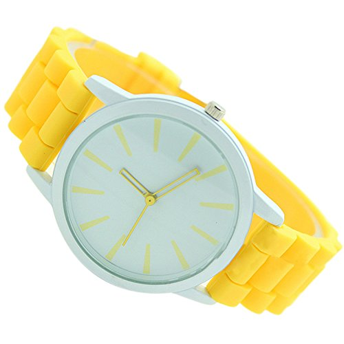 REFURBISHHOUSE Damenuhr Klassisch Gel Silikon Gelee Uhr (Gelb + Weisses Gesicht) -