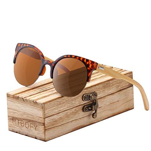 DAIYSNAFDN Holz Sonnenbrillen für Frauen & Männer Bambus Brillen handgefertigte Brillen Unisex Shades C2