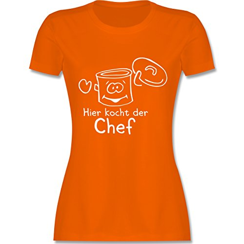 Küche - Hier kocht der Chef - tailliertes Premium T-Shirt mit Rundhalsausschnitt für Damen Orange