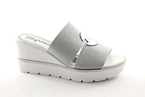 PREGUNTA IG9306 argento zoccolo donna sandali pelle elastico zeppa Bianco