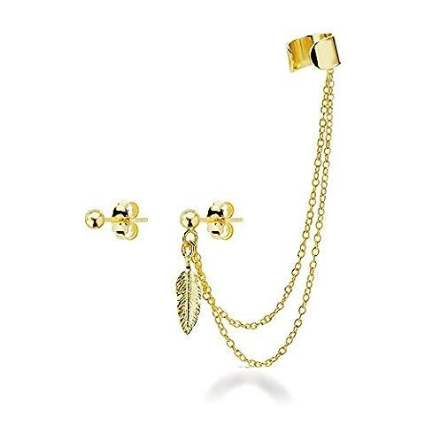 Boucles d'oreilles argent de loi type Ear Cuff avec plume plaqué Or jaune