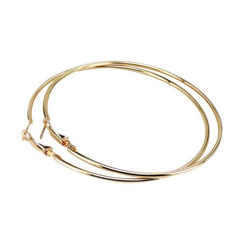 (Tinksky Creolen Runde Große Damen Unisex Ohrringe Schmuck Creolen Ohrringe 10 CM (Gold))