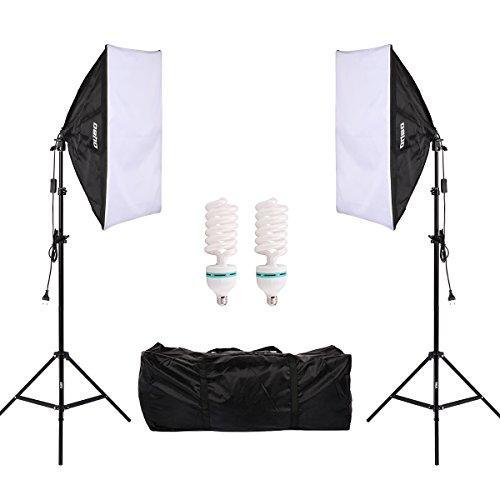 cht Studioleuchte Fotostudio Softboxen 2er Set 135W E27 Tageslichts Fotoleuchte 5500K 2X Lampenstativ Tragtasche ()