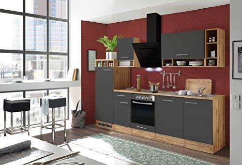 respekta Küchenzeile Küche Küchenblock Einbauküche Komplettküche 280 cm Wildeiche grau inkl. Geräte