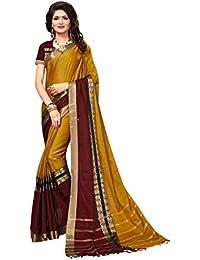 Indira Designer Women's Multi-Color Cotton Silk Saree With Blouse