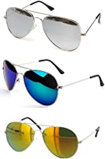 Sheomy UV Protected Non Polarized Aviator Unisex Sunglasses(3IN1-0085|Silver Mercury, Blue Mercury, Green Mercury) - Pack of 3