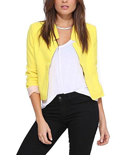 Damen Blazer Tailliert Kurz Elegante Langarm Slim Business Casual Anzug Kurzblazer Mantel Jacke Oberteil Yellow S