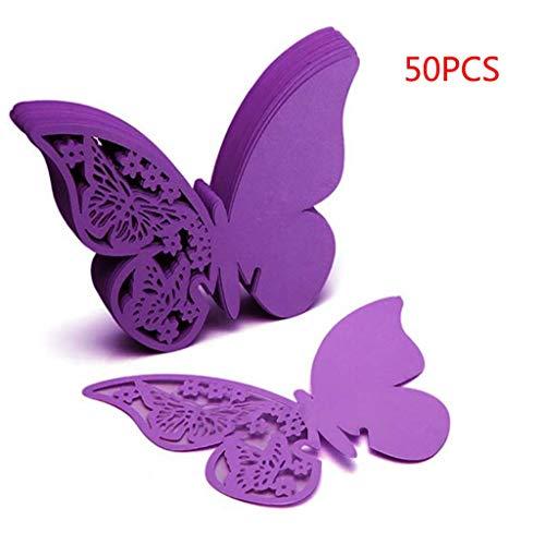 Tarjeta felicitación boda-TianranRT❄ 50Pcs Suministros de boda Paper Butterfly Wine Cup Card Bonita y delicada decoración,Púrpura